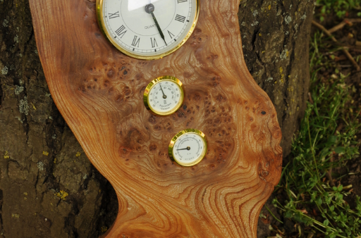 Stunning burr elm three measure weather station by Wood Cave