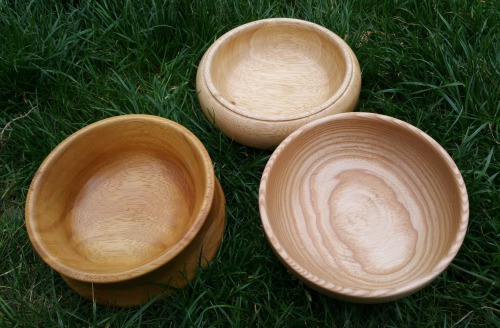 Handmade hardwood bowls turned by Wood Cave