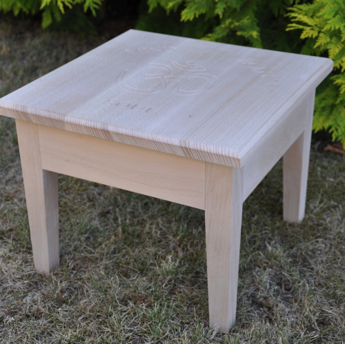 Engraved ash stool / occasional table by Wood Cave