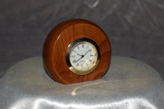 Small round yew desk clock by Wood Cave